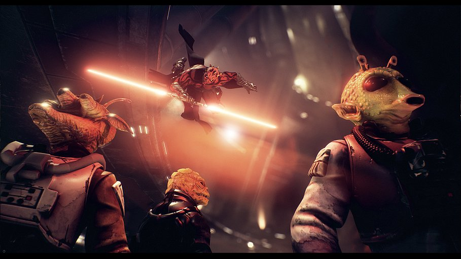 Darth Maul attacks in concept art for a cancelled game.