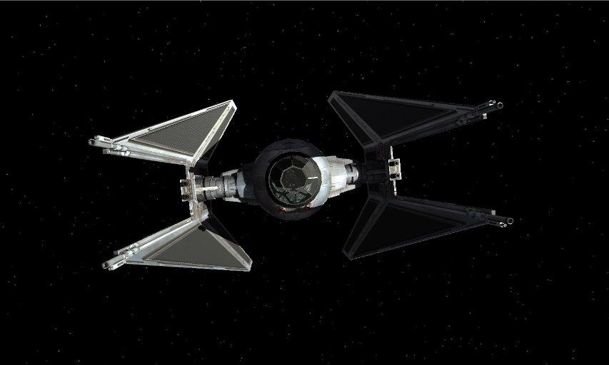 The TIE Interceptor in the HD X-Wing mod, XWVM.