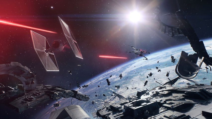 A space conflict in Battlefront II.