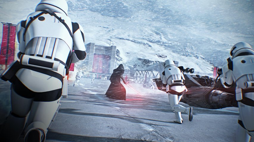 Kylo Ren and First Order stormtroopers in Battlefront II.