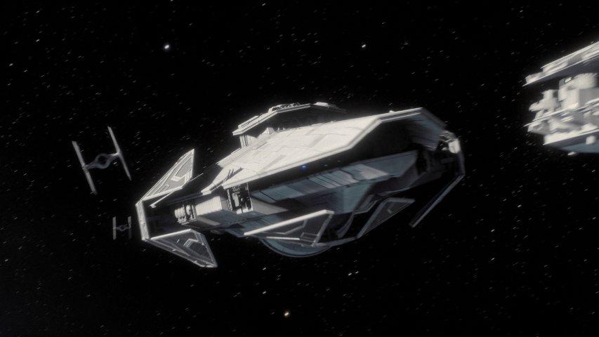 The Imperial Raider-class corvette Corvus in Battlefront II.