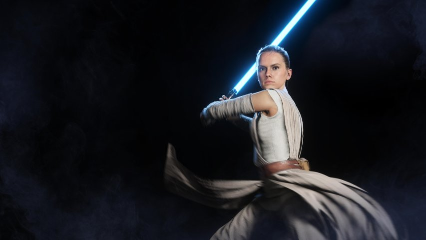 A high-quality rendering of Rey in Battlefront II.