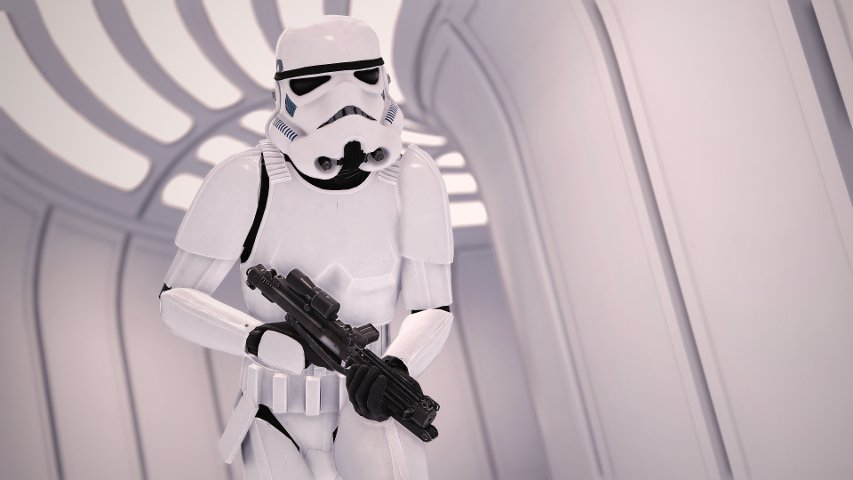 A stormtrooper on Bespin in Battlefront. Image by Cinematic Captures.